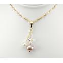 Pendentif Plaqué Or Gold Filled 14 K Swarovski Cristal Disco et double Perle d'eau douce Lavande et Blanche