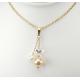 Pendentif Plaqué Or Swarovski Cristal Disco et double Perle Pêche et Blanche