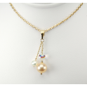 Pendant 14K Gold Filled Swarovski Disco Crystal with double White and Peach Freshwater Pearl