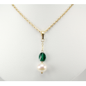 Pendant 14K Gold Filled Swarovski Emerald Crystal and White Freshwater Pearl
