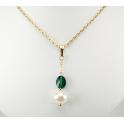 Pendentif Plaqué Or Gold Filled 14 K Swarovski Emeraude et Perle d'eau douce Blanche