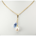 Pendant 14K Gold Filled Swarovski Saphire drop Crystal and White Freshwater Pearl