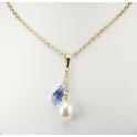 Pendentif Plaqué Or Gold Filled 14 K Swarovski Goutte Saphire et Perle d'eau douce Blanche