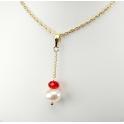 Pendentif Plaqué Or Gold Filled 14 K Swarovski Toupie Rubis et Perle d'eau douce Blanche