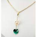 Pendant 14K Gold Filled Swarovski Emarald Heart Crystal and Golden Freshwater Pearl