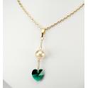 Pendentif Plaqué Or Gold Filled 14 K Swarovski Coeur Emeraude et Perle d'eau douce Golden